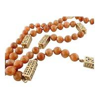 """Vintage 14K Gold & Orange Brown Jade Bead 27.25"""" Strand Necklace"""