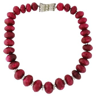 Vintage Estate 600ct tw Graduated Ruby Bead, 14K Gold & Diamond Necklace