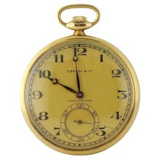 Vintage Tiffany & Co 18K Yellow Gold 44mm Pocket Watch in Original Box c.1927
