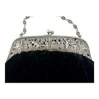 Antique German Green Man, Angels, Grape Vines Silver Frame Lady's Velvet Handbag