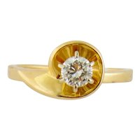 Vintage 14K Yellow Gold & 0.25ct Solitaire Diamond Engagement Stacking Ring Sz:5