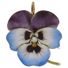 Antique Art Nouveau 14K Enamel Enameled Diamond Large Pansy Pin Brooch Pendant