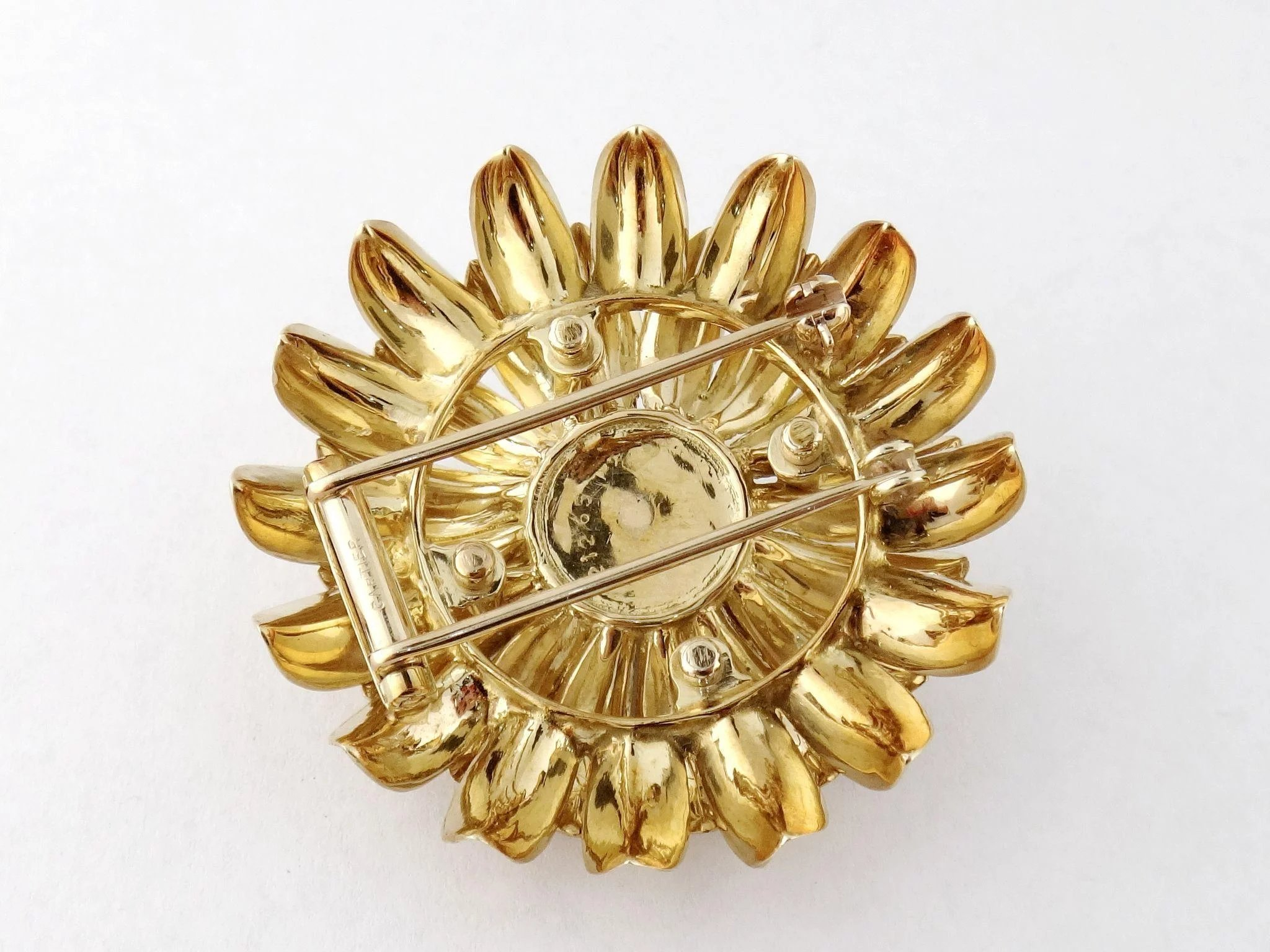 brooch s flower cartier old cut hand gold platinum products img yellow coral diamond