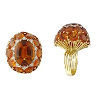 Vintage 18K Yellow Gold 32.5ct Madeira Citrine Diamond High Dome Cluster Cocktail Ring