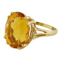 Vintage 14K Gold Citrine Diamond Cocktail Ring, Size:10.25