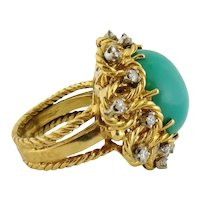 Vintage 18K Gold Turquoise Cabochon Diamond Cluster Cocktail Ring, Size:7.75