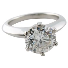 Tiffany & Co Platinum 0.92ct G VS1 Round Diamond Solitaire Engagement Ring