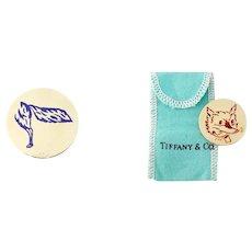 Vintage Estate Tiffany & Co 14K Enamel Fox Head Tail Flipping Tossing Coin, c. 1940s