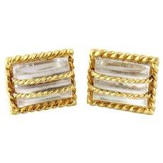 Estate David Webb 18K Yellow Gold & Rock Crystal Cufflinks