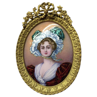 Miniature enamel portrait with gilded frame