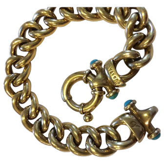 Sterling chain bracelet with gold wash