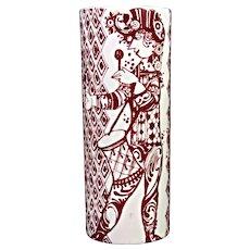 Bjorn Wiinblad, Nymolle, Duet Vase in Red & White