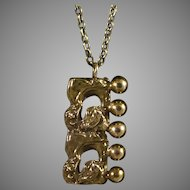 Brutalist/Modernist Style Brass Pendant & Chain Necklace Made In Finland