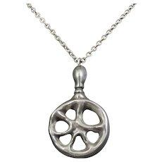Signed Jorgen Jensen Pewter Pendant Necklace from Denmark