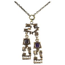 Pentti Sarpaneva Finland Bronze Brutalist Double Pendant Necklace with Amethyst