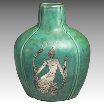 Gustavsberg Sweden Argenta Vase with Inlaid Silver Decoration