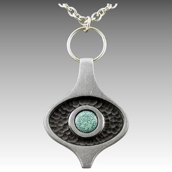 Danish Mid-Century Pewter Pendant with Turquoise Colored Stone