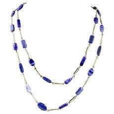 Vintage Blue Banded Agate Necklace.