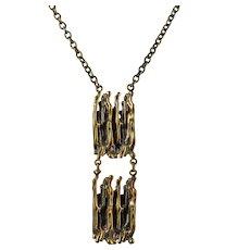 Pentti Sarpaneva Bronze Vintage Modernist Pendant Necklace