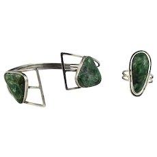 Sterling Silver Eilat Stone Open Cuff Bracelet & Ring Set