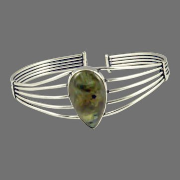 Labradorite Sterling Silver Wire Bracelet