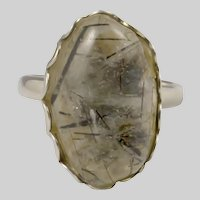 Sterling Silver Ring  with Tourmalinated Quartz Stone