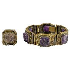 Pentti Sarpaneva Bronze Bracelet & Ring Set Amethyst Stones