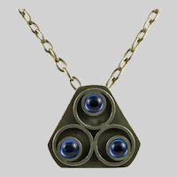 Bent Larsen Pewter Necklace with Blue Glass Insets