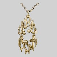 Bronze Brutalist Pendant Necklace