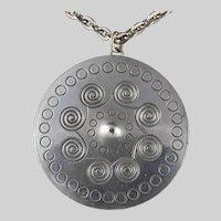 Jorgen Jensen Denmark Viking Shield Pewter Pendant