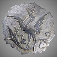 1950's French Art Nouveau Style Heron Motif Brevete SGDG Silver Plated Scarf Clip