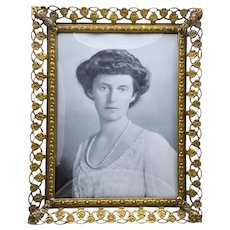 Vintage Brass  Free-Standing Picture Frame w/Bowed Glass & Scalloped Floral Border From Denmark
