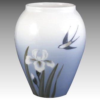 Royal Copenhagen Porcelain Vase  Flowers and a Swallow