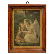 Vintage German Framed  Print of a Guardian Angel