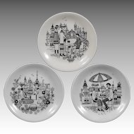 Arabia of Finland, Set of 3 Small Emilia  Plates