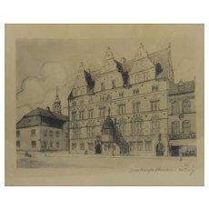 Framed Drawing Jens Bang Stone House Aalborg Denmark