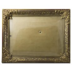 Vintage Gilded Brass Picture Frame with Bowed Glass