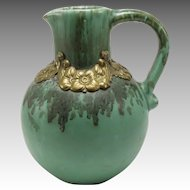 Unmarked Green Pitcher w/Metal Collar 1910-1920s
