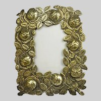 Vintage Brass  Free-Standing Picture Frame Embossed With Roses