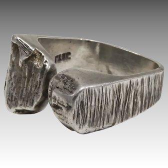 Mid-Century Brutalist 14K White Gold Ring