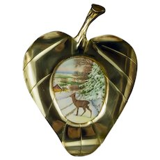 Vintage  Brass Leaf-Shaped  Picture Frame