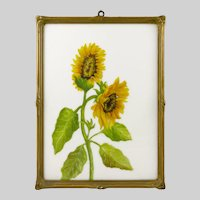Vintage Carved Wood Frame w/Sunflower Painting