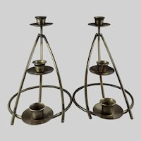 Pair of Iron 3-Tier Candleholders