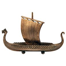 Viking Ship Model in Brass