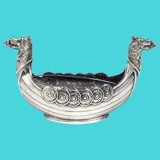 Swedish .830 Silver Viking Ship Salt Cellar