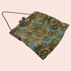 Vintage Cloth Handbag on Metal Frame