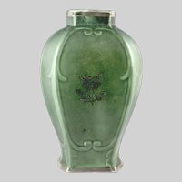 Arabia of Finland Green Vase with Silver Inlays