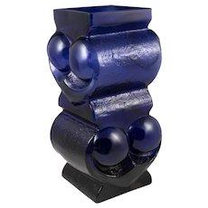 Lars Hellsten Scruf Glass Cobalt Blue Vase