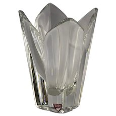 Orrefors Sweden Glass Lotus Vase