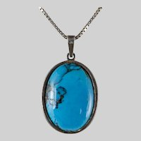 Danish Sterling & Turquoise Pendant  by Hermann Siersbol